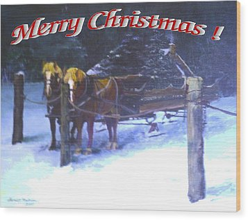 Merry Christmas Sleigh Wood Print by Harriett Masterson