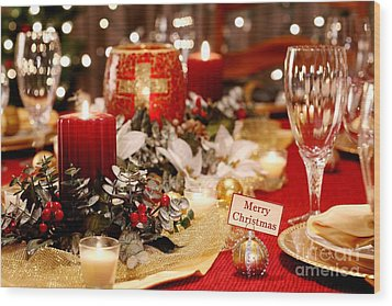 Merry Christmas Table Wood Print by Pattie Calfy
