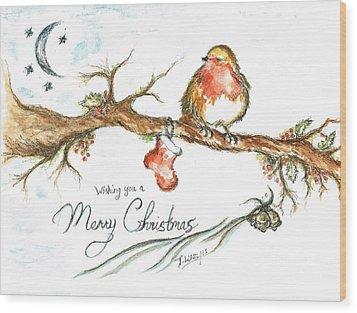 Merry Christmas Robin Wood Print by Teresa White