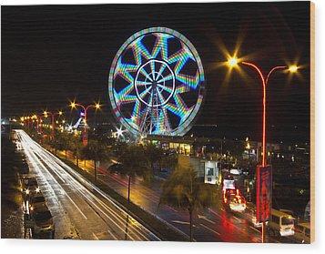 Merry Ferris Wheel Wood Print by Troy Espiritu