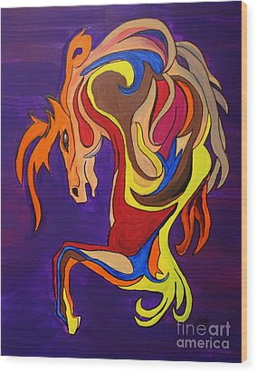 Wood Print featuring the painting Merry Go Round Carousel Horse by Janice Rae Pariza