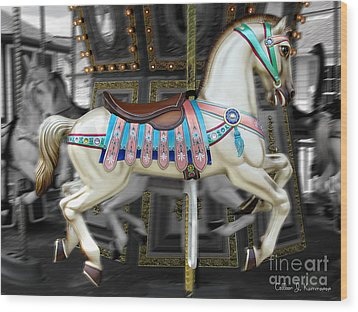 Merry Go Round Wood Print by Colleen Kammerer