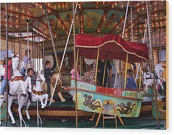 Merry Go Round Wood Print by Dany Lison