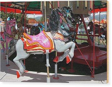 Merry-go-round Horse Wood Print