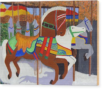 Wood Print featuring the painting Merry-go-round by Mary M Collins