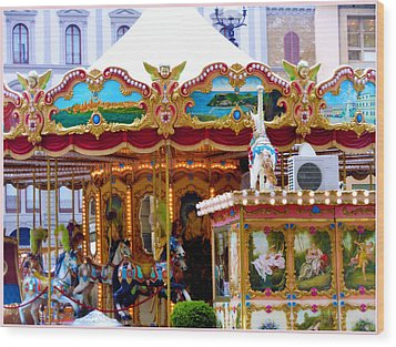 Merry Go Round Wood Print by Mindy Newman