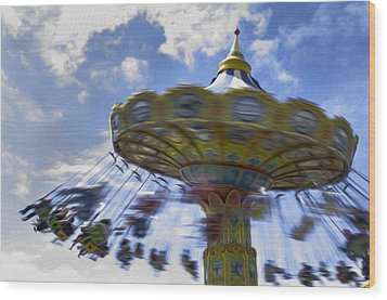 Merry Go Round Swings Wood Print