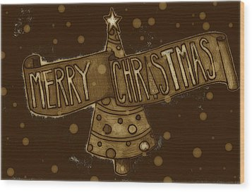 Merry Sepia Christmas Wood Print by Jame Hayes