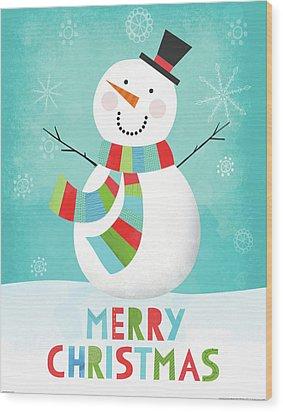 Merry Snowman IIi Wood Print by Lamai Mccartan