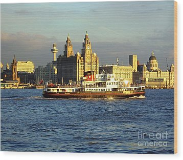 Mersey Ferry And Liverpool Waterfront Wood Print