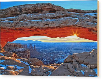 Mesa Arch Sunrise Wood Print by Adam Jewell