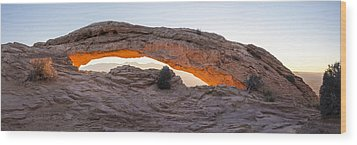Mesa Arch Sunrise Panorama - Canyonlands National Park - Moab Utah Wood Print by Brian Harig