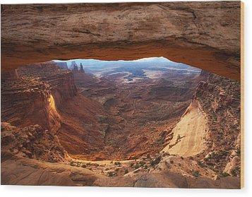Mesa Sunrise Window Wood Print by Darren  White