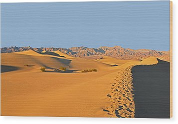 Wood Print featuring the photograph Mesquite Flat Sand Dunes - Death Valley by Dana Sohr