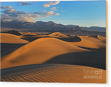Mesquite Sand Dunes Death Valley Wood Print by Peter Dang