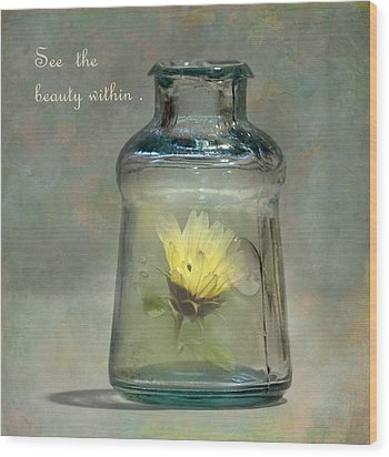 Message In A Bottle Wood Print by Angie Vogel