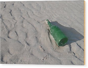 Message In A Bottle Wood Print by Peter Waters