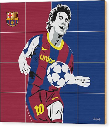 messi Football Wood Print by Roby Marelly