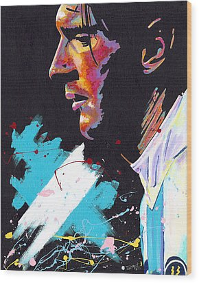Messi Wood Print by Jeff Gomez