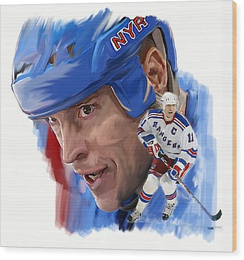 Messier II Mark Messier Wood Print by Iconic Images Art Gallery David Pucciarelli