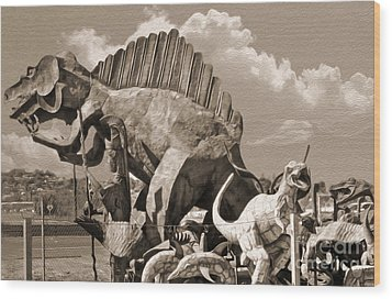 Metal Dinosaurs - 02 Wood Print by Gregory Dyer