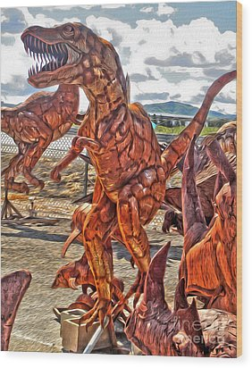 Metal Dinosaurs - 03 Wood Print by Gregory Dyer