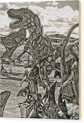 Metal Dinosaurs - 04 Wood Print by Gregory Dyer