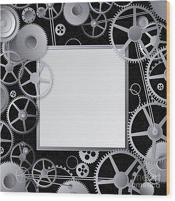 Metal Gears Design Wood Print by Richard Laschon