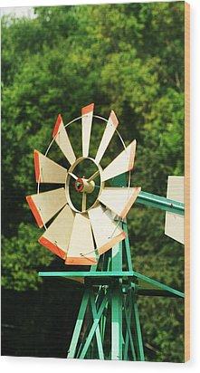 Metal Windmill Wood Print by Christopher Hoffman