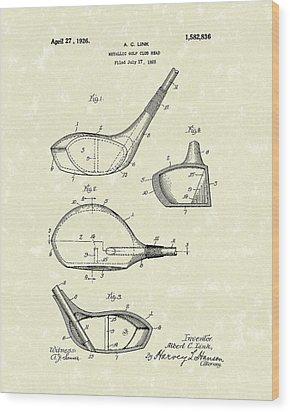 Metallic Golf Club Head 1926 Patent Art Wood Print