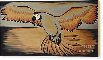 Metallic Macaw Wood Print