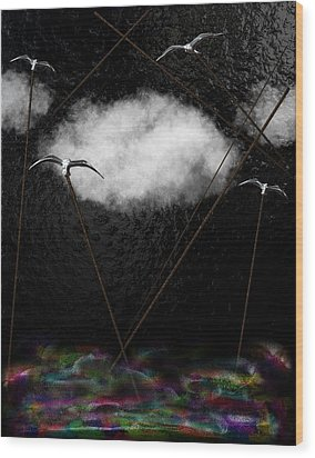 Metallic Seagulls Suspended Over A Rainbow Ocean Wood Print