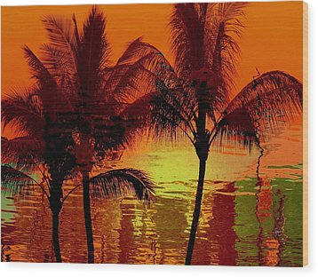 Metallic Sunset Wood Print
