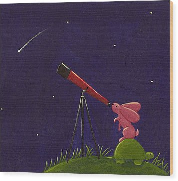 Meteor Shower Wood Print by Christy Beckwith