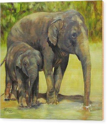 Thirsty, Methai And Baylor, Elephants  Wood Print