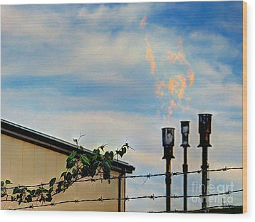 Methane Flares Wood Print by MJ Olsen