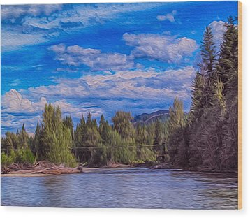 Methow River Crossing Wood Print by Omaste Witkowski