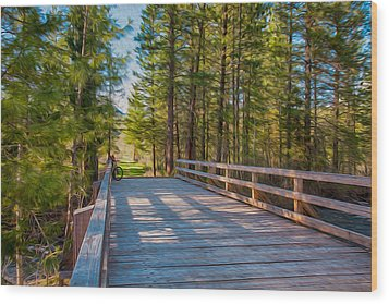 Methow Valley Community Trail At Wolf Creek Bridge Wood Print by Omaste Witkowski