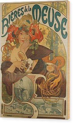 Meuse Beer Wood Print by Alphonse Marie Mucha