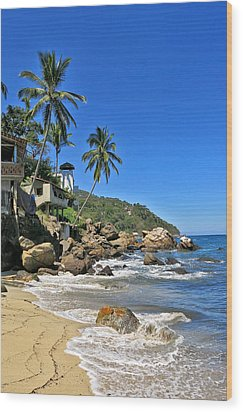 Mexican Beach Town Wood Print by Douglas Simonson