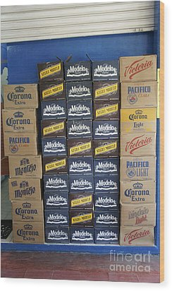 Mexican Cervezas Wood Print by John  Mitchell
