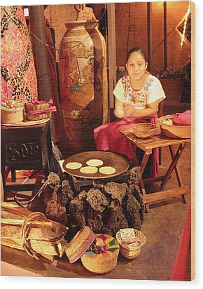 Mexican Girl Making Tortillas Wood Print