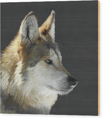 Mexican Grey Wolf Portrait Freehand Wood Print by Ernie Echols
