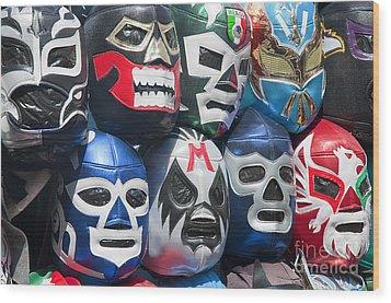 Mexican Head Masks Wood Print