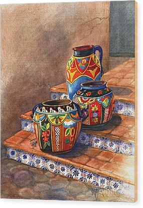 Mexican Pottery Still Life Wood Print by Marilyn Smith