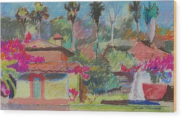 Wood Print featuring the painting Mexican Spa by Linda Novick