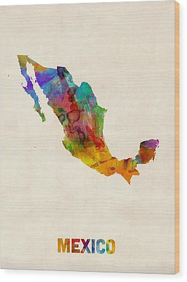 Mexico Watercolor Map Wood Print by Michael Tompsett