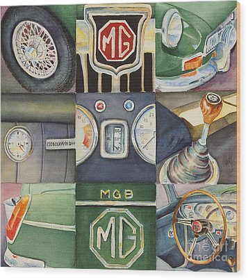 Mg Car Collage Wood Print by Karen Fleschler