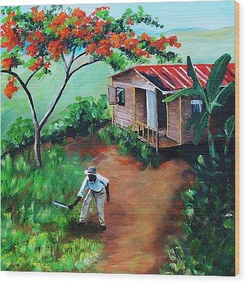 Mi Flamboyan Wood Print by Migdalia Bahamundi