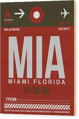 Mia Miami Airport Poster 4 Wood Print by Naxart Studio